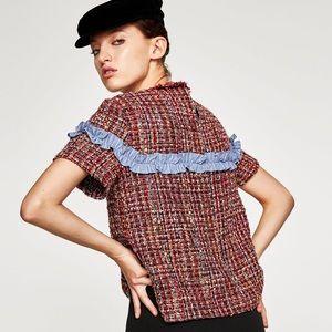 ZARA WOMAN Tweed Top with Contrasting Ruffle NWT S